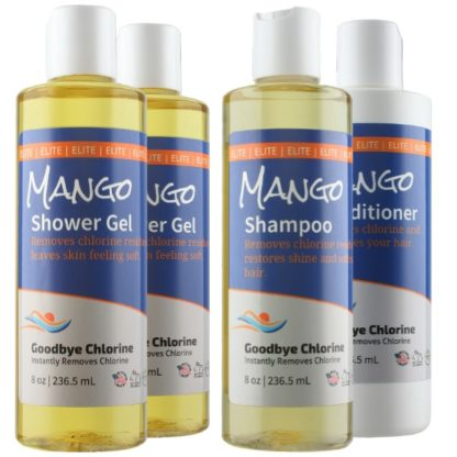 Anti-Chlorine Shower Gel, Shampoo and Conditioner Instantly Removes Chlorine.
